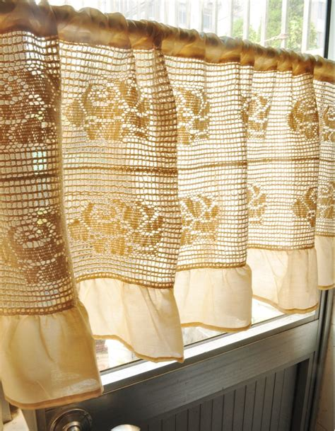 Ruffled Kitchen Curtains Large Beige Ruffled Cafe Curtain Semi Shade Kitchen Curtain Finished Crochet Curtain For