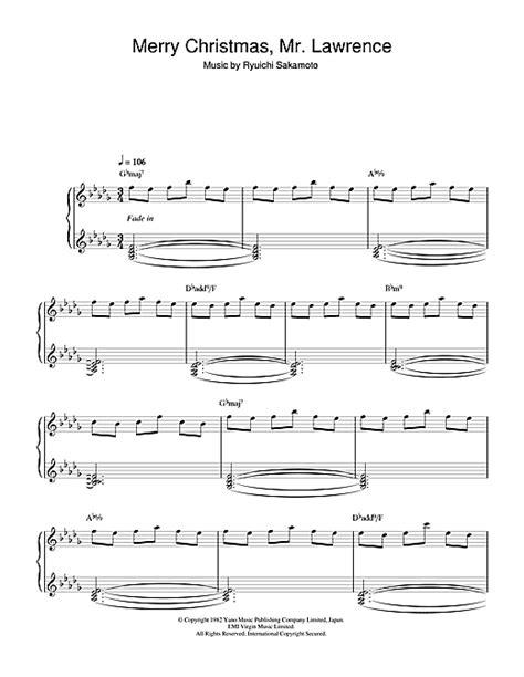 merry christmas  lawrence sheet   ryuichi sakamoto piano