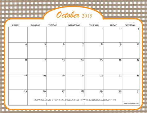 printable school calendar october 2015 calendar october 2015 printable calendar template 2016