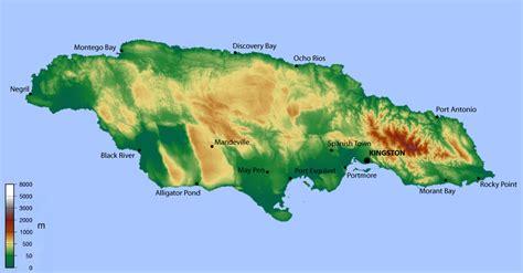 map of america showing jamaica map of jamaica topographic map worldofmaps net
