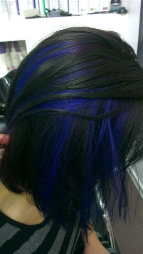 black with hair black hair with blue peekaboo highlights i want this