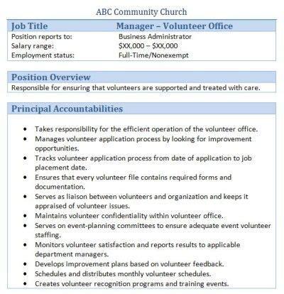 Sle Church Employee Job Descriptions Job Description And Churches Church Volunteer Description Template