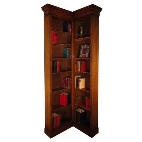 oak narrow corner bookcase 242172 sellingantiques co uk