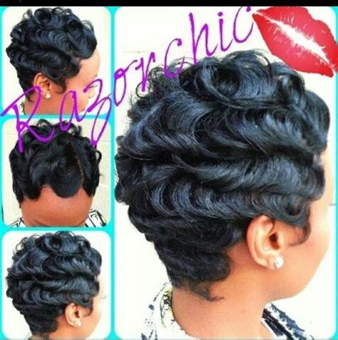 black hairstyles with finger wave sides and curls on top long time waves sharp hair styles pinterest waves