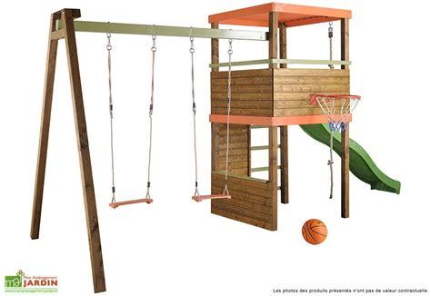 fabriquer portique balancoire portique toboggan balan 231 oire bois mur d escalade corde
