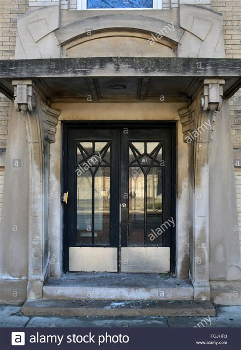 Building A Front Door Front Doors On A 1920 S Deco Apartment Building To Lake Stock Photo Royalty Free