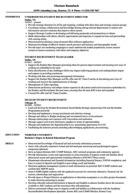 Student Recruiter Sle Resume by Student Recruitment Resume Sles Velvet