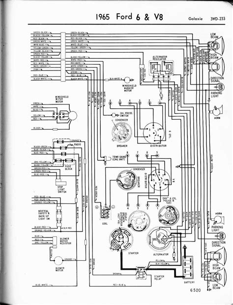 free wiring diagrams automotive ford galaxie | 1965 6 & V8