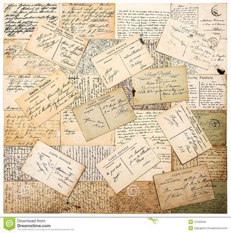 old vintage images vintage handwritten postcards grunge paper background stock photo image 47500346