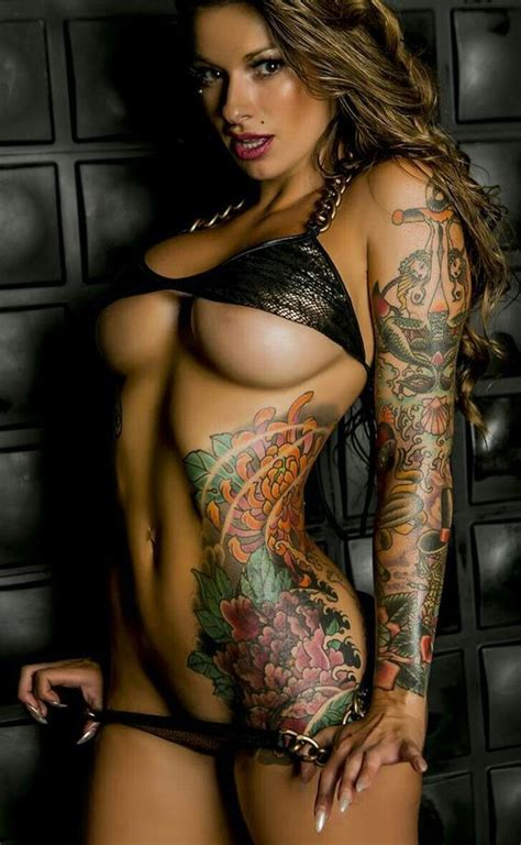 tattoo girl in body exciting underboob inked athletic dream body of sexy