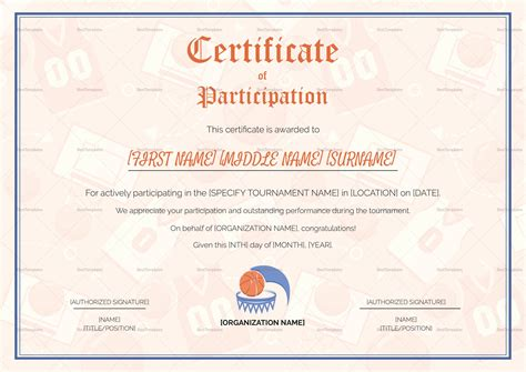 sport certificate templates for word simple sports participation certificate design template in