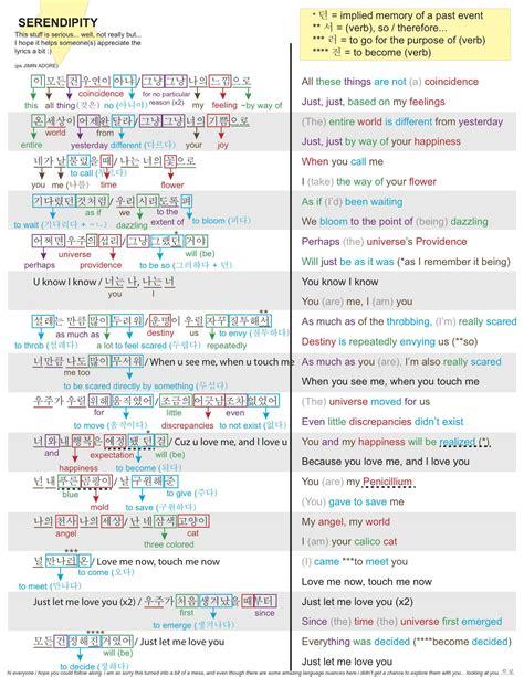bts serendipity lyrics bts lyrics study sheet 5 serendipity bangtan
