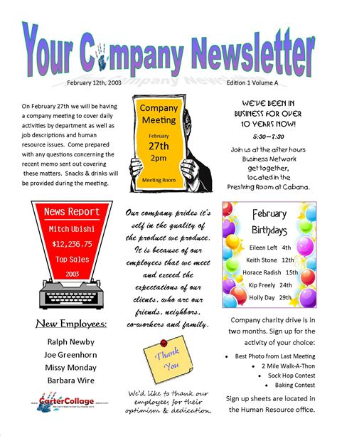 exle company newsletter carter collage