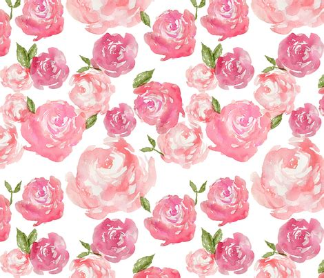 Accent Color watercolor floral fabric laurapol spoonflower