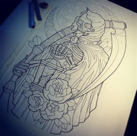 outline new death with a scythe and roses on