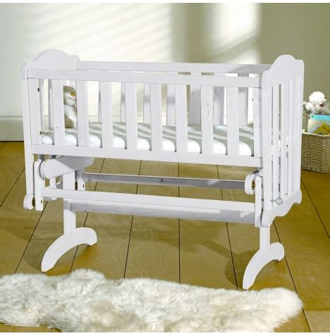 Baby Rocking Cribs New Saplings White Wood Baby Glider Crib Infants Wooden Gliding Rocking Cradle Ebay
