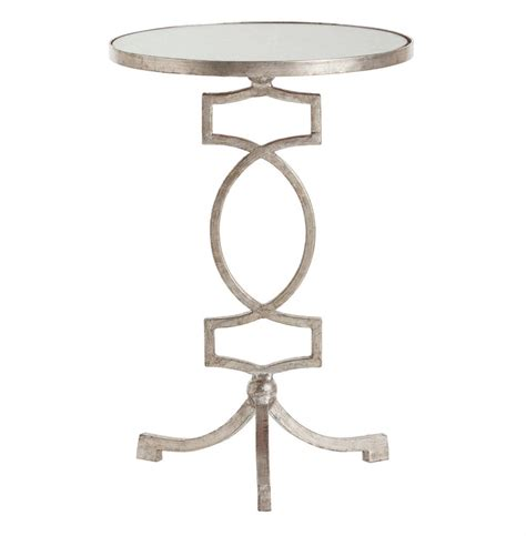 silver accent tables cooper silver leaf hollywood regency mirror accent side table