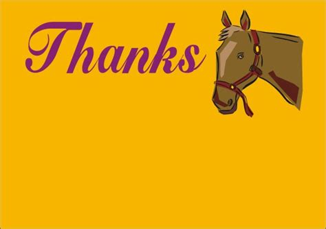 printable thank you cards horse all free animal thank you notes and thank you cards