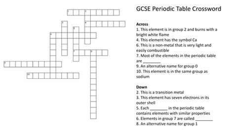 periodic table crossword puzzle with answers by