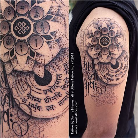 gayatri mantra tattoo on wrist dotwork mandala by bhanushali at aliens
