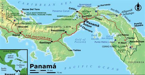 physical map of panama physical map panama