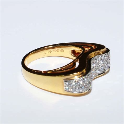 oscar heyman yellow gold and platinum quot wave quot ring