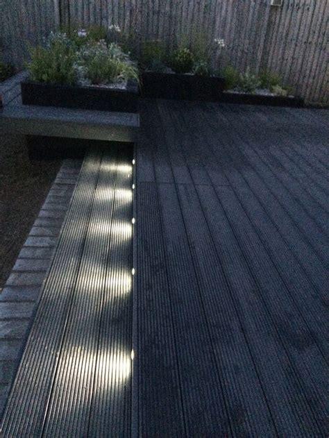 funky led garden lights composite decking  dark grey