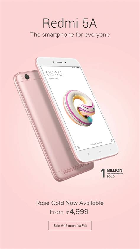 redmi 5a xiaomi redmi 5a now available in rose gold in india