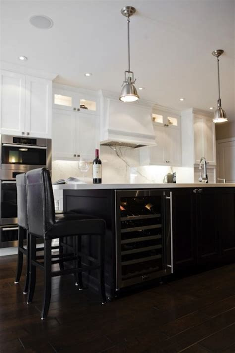 wine fridge in island transitional kitchen