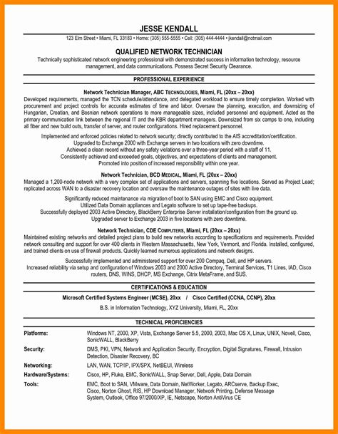 resume format for network engineer cisco network engineer resume sle fresh network