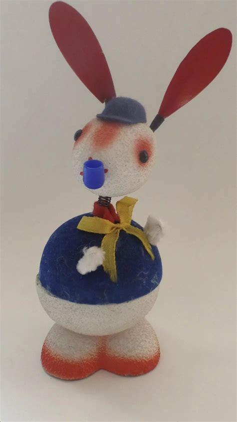 Flocked Easter Bunny Rabbit Antique - large vintage flocked germany paper mache easter bunny