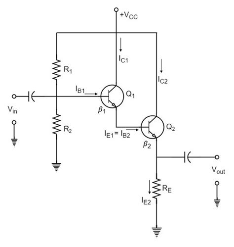 darlington transistor configuration emitter follower and darlington lifier