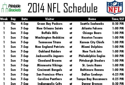 printable bowl game schedule 2014 2014 nfl schedule nfl schedule 2014 printable nfl