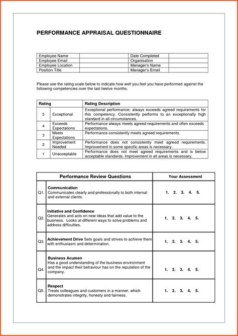 Performance Appraisal Exles Abc Church Perf Appraisal1 Jpg Sle Phrases Employee For Sales Performance Review Template For Managers