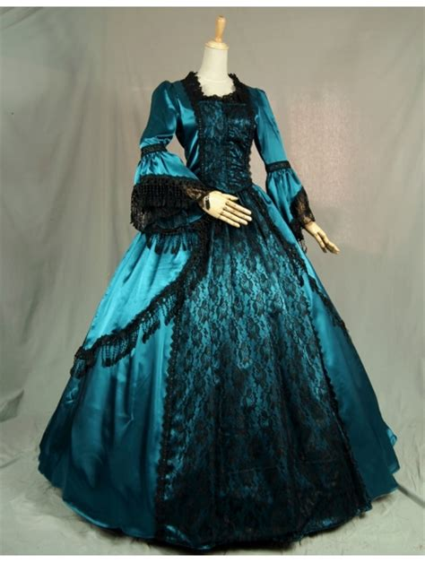blue trumpet sleeves victorian ball gowns  black lace