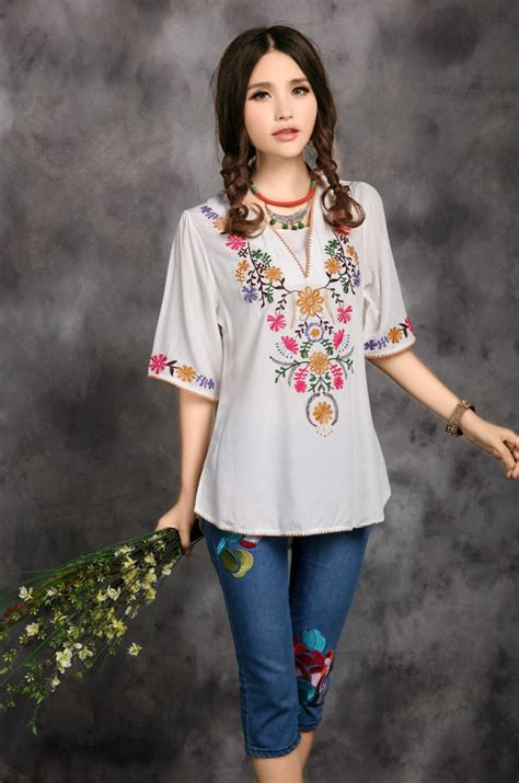 Boho Blouse Tunic Mariana 2017 sale vintage ethnic floral embroidered boho mexican peasant tunic blouse dress