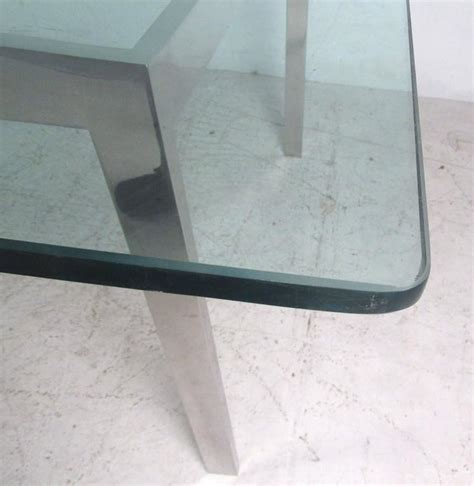 large glass dining room table large midcentury chrome and glass dining room conference