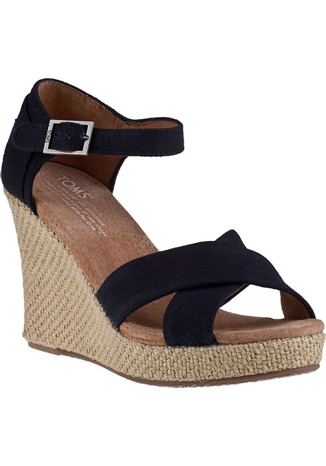 wedge sandals toms strappy wedge sandal black fabric jildor shoes