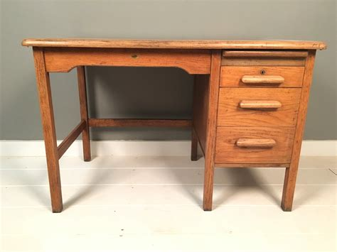 oak desk with drawers vintage abbess oak desk with drawers blue ticking