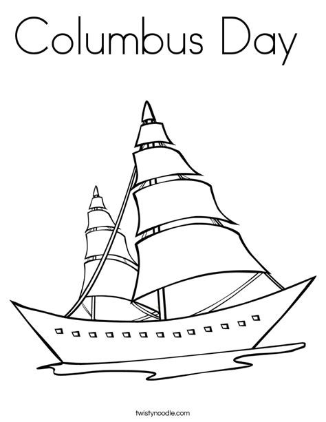 columbus day coloring page twisty noodle
