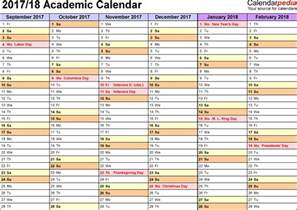 Semester At A Glance Template by Academic Calendars 2017 2018 As Free Printable Pdf Templates