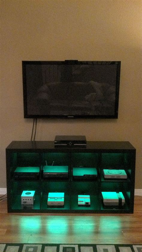 man cave light fixtures video game console cabinet with led lights via reddit user