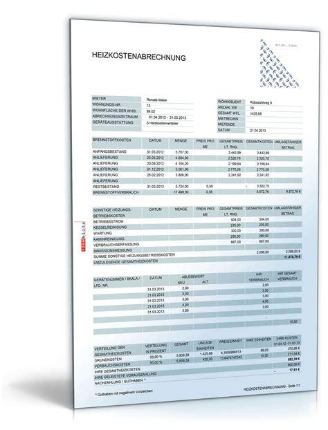 Muster Formular Nebenkostenabrechnung betriebs und heizkostenabrechnung muster zum