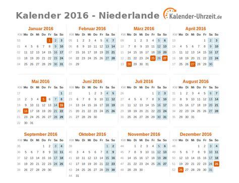 Kalender 2016 Jahres Bersicht Feiertage 2016 Niederlande Kalender 220 Bersicht