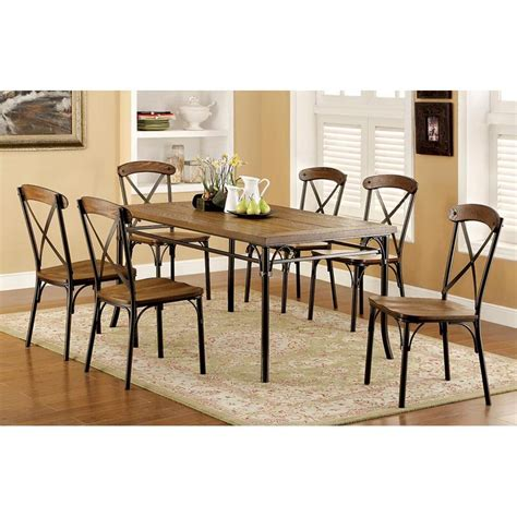 industrial dining table set furniture of america stilson industrial 7 dining