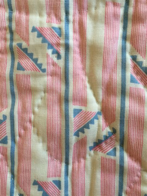 Sewn Patchwork Quilt - vintage deco blue denim pin stripes sewn arches
