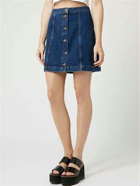 blue single breasted a line denim skirt
