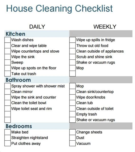 6 Free House Cleaning List Templates Excel Pdf Formats Cleaning Checklist Template