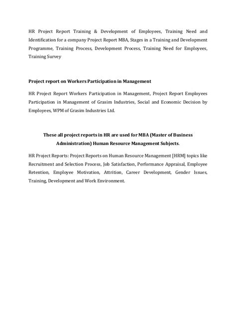 Mba Project Report On Employee Absenteeism by Hr Project Report Dissertation Help Mba