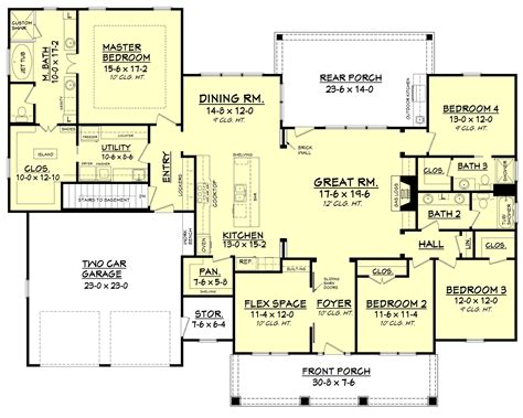 great house plans craftsman style house plan 4 beds 3 00 baths 2639 sq ft